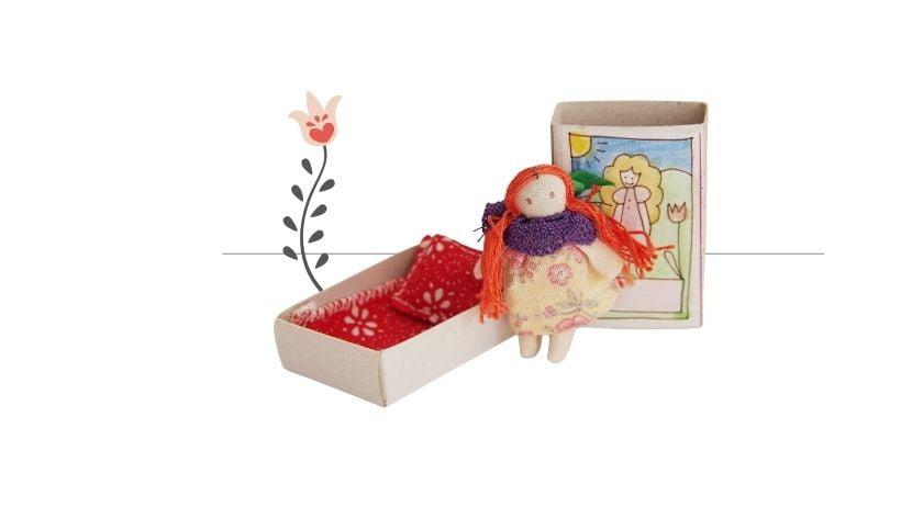Bábika princezná v zápalkovej krabičke mini