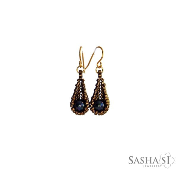 Náušnice kvapky bronz čierna perleť
