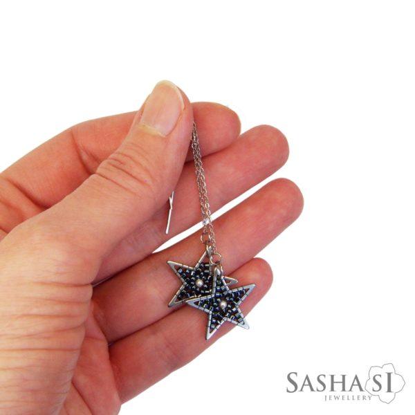 Náušnice Hviezdy retiazkové tmave striebro perličky