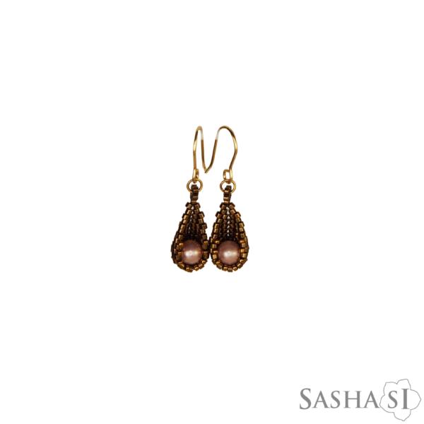 Nausnice kvapky bronzova ruzova perlet