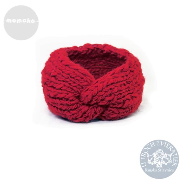 červená vlnená čelenka MOMOKO