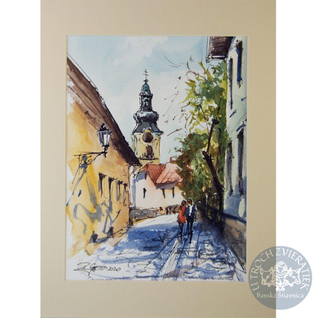 Kolorovaná perokresba Banská Štiavnica Peter Görcsös