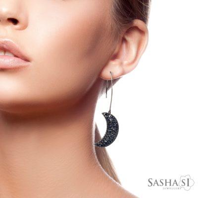 Náušnice Mesiac tmavé striebro SashaSi