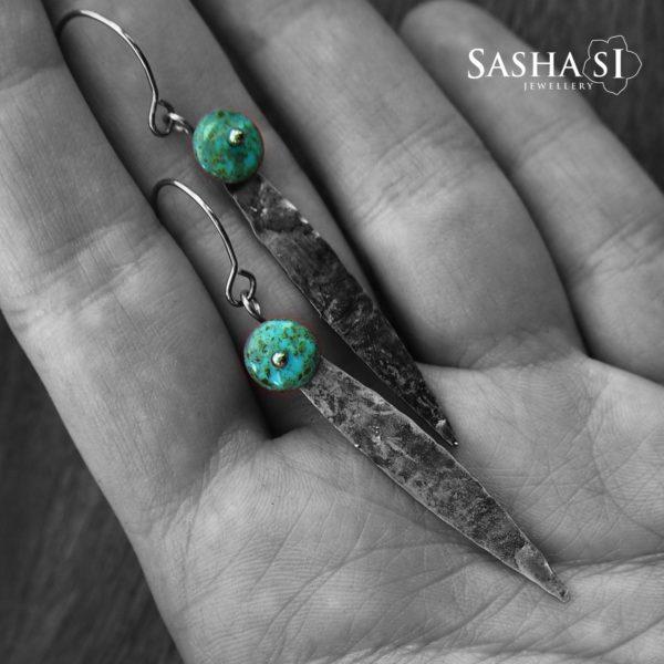 Náušnice Dagger SashaSi kolekcia Patina