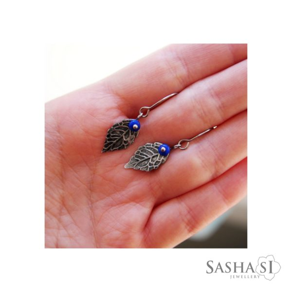Náušnice lístočky modré SashaSi