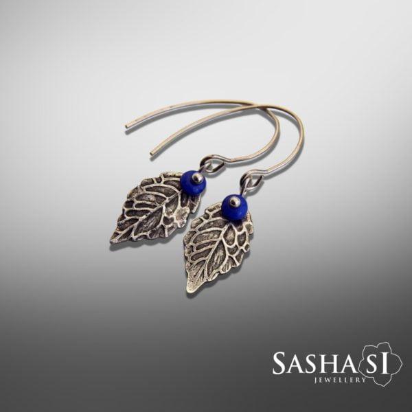 Náušnice Lístočky 1 modré SashaSi