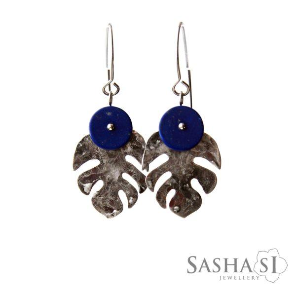 Náušnice Monstera Lapis Lazuli Lazurit SashaSi