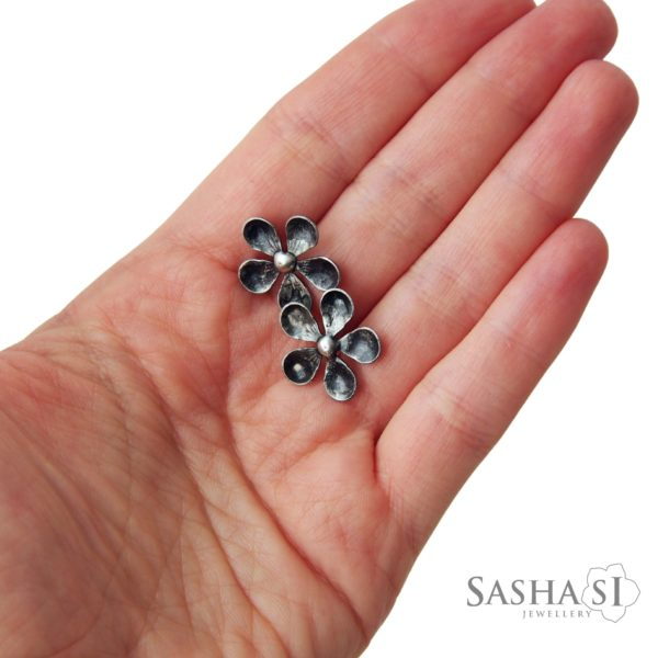 Náušnice napichovacie Kvietky SashaSi kolekcia Patina